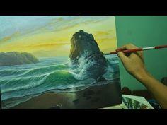 Acrylic Seascape Painting Lesson - Sunrise Beach by JMLisondra - YouTube