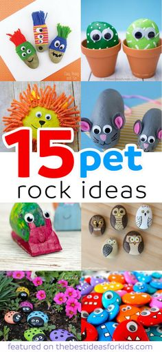 15 Fun Pet Rock Ideas perfect for the kindness project, painted rock ideas, rock hunting hide and seek, painted rocks how to, and so many great painted rock idea! via @bestideaskids