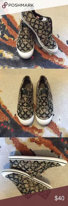 Camo Coach Sneakers Camouflage Coach Sneakers - very cute and in great condition ( just small black white logo came off) Says coach on the side and has a tab sticking out - super cute Coach Shoes Sneakers