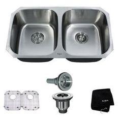 Kraus Premier Kitchen Sink 18-In X 32.25-In Double-Basin Stainless Steel Undermount Residential Kitchen Sink