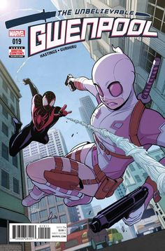 Gwenpool, The Unbelievable Marvel hero Gwen Poole is friend to all! That is…until supposedly she ruins Miles Morales' life by revealing his secret identity. Find out how Gwen plans on fixing THIS continuity drama! Comic Book Characters, Marvel Characters, Comic Character, Comic Books Art, Comic Art, Marvel Dc Comics, Hq Marvel, Marvel Heroes, Dr Stephen Strange