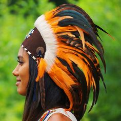 Orange Feather Headdress – Indian Headdress - Novum Crafts