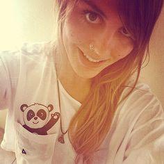 Loose Pocket Panda Crop Top MidLength Tee White Shirt by PlataArt