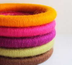Set of 5 Wool Wrapped Stacking Bangles by mysticfibers on Etsy, $30.00