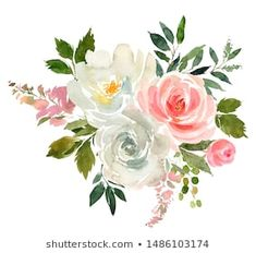 Similar Images, Stock Photos & Vectors of Watercolor drawing of a branch with leaves and flowers. Composition of pink roses, wildflowers and garden herbs Decorative bouquet isolated on white background. Simple Watercolor Flowers, Easy Watercolor, Watercolor Drawing, Floral Watercolor, Botanical Illustration, Wildflowers, Pastel Colors, Pink Roses, Floral Arrangements