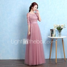 A-Line Illusion Neckline Floor Length Tulle Homecoming Prom Formal Evening Dress with Appliques by Luoge Indian Gowns Dresses, Pink Prom Dresses, Prom Dresses With Sleeves, Tulle Prom Dress, Long Bridesmaid Dresses, Modest Dresses, Ball Dresses, Simple Dresses, Cute Dresses