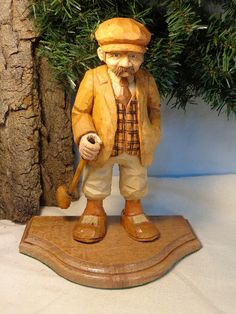 Golfer caricature carving hand carved wood by WeAreOutofOurGourds