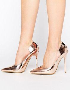 6a63f028e Rose Gold Pumps. Sapatos Dourados, Bombas De Ouro Rosa, Salto Alto Dourado,