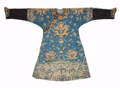A silk blue-ground 'dragon' robe, jifu, 19th century