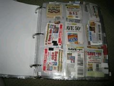 Use binders to store coupons