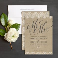 Burlap Lace Wedding Invitation Wedding Ideas Pinterest