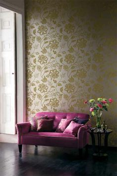 LUCIDO collection of wallcoverings are a #Delicious treasure trove of #design and colour! They include #damasks, stylised paisleys and #ombré stripes, all enhanced by #silk and satin-effect backgrounds!