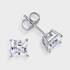 0 50 Ct Each Princess Cut 14k Stud Earring High Quality Cubic Zirconia Earrings