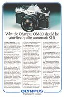Olympus OM-10 SLR Camera 1980 Ad Picture