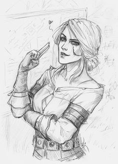 Cirilla Fiona Elen Riannon by NastyaSkaya on DeviantArt The Witcher Geralt, Witcher Art, Drawing Sketches, Art Drawings, The Witcher Books, Illustration Mode, The Villain, Character Drawing, Game Art