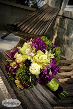 Green and Purple Wedding Bridal Bouquet Purple Wedding Flowers, Flower Bouquet Wedding, Green Wedding, Wedding Colors, Wedding Ideas, Green Flowers, Wedding White, Spring Wedding, Green Bouquets