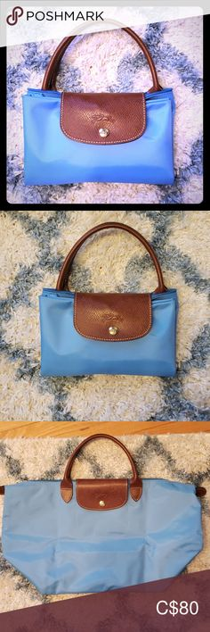 Longchamp blue bag This is a large bright blue longchamp tote bag with top handle. It's only been used a couple of times. Longchamp Bags Totes