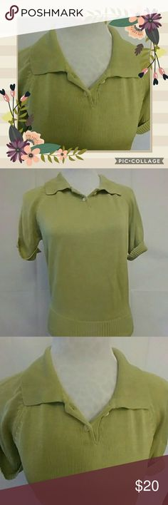 VINTAGE Ann Taylor silk knit polo style sweater PERFECT FOR SPRING!  This is a VINTAGE 100% silk knit polo-style lightweight sweater by Ann Taylor. In lovely sage green, with cuffed short sleeves and a 2-button closure at neck. In excellent used condition (no rips, tears, or snags.) Ann Taylor Sweaters