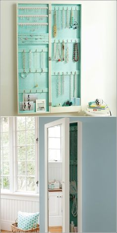 Wall Mirror Jewelry Storage This can be purchase, hung, & go right to work. - Wall Mirror Jewelry Storage This can be purchase, hung, & go right to work. And you get a nice mirr - My New Room, My Room, Mirror Jewelry Storage, Necklace Storage, Jewelry Armoire, Jewellery Storage Ikea, Hidden Jewelry Storage, Mirror Jewellery Cabinet, Jewelry Wall
