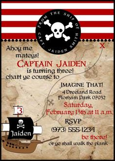 Pirate Birthday Party: DIGITAL FILE Pirate Themed Birthday Party by PaperCandee on Etsy, $15.00