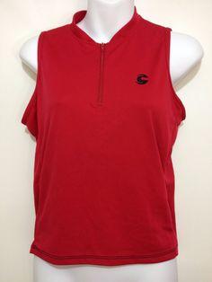 Cannondale Red Sleeveless Bike Cycling Jersey Shirt Womens S 1/2 Zip Chrono #Cannondale