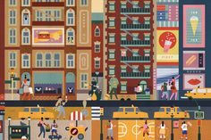 """Lotta Nieminen's whimsical illustrations in her book """"Walk This World"""" is filled with detailed and colourful interpretations of cities across the world. Inspires me to travel! Flat Illustration, Digital Illustration, Lotta Nieminen, Vibrant Colors, Colours, Pretty Cool, Thunder, Amazing Art, Illustrators"""