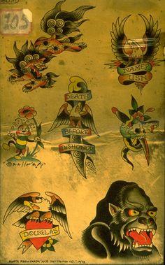 - Hardy Marks Publications and Don Ed Hardy Archive Dragon Tattoo Back Piece, Dragon Sleeve Tattoos, Tattoo Flash Sheet, Tattoo Flash Art, Vintage Tattoo Design, Vintage Tattoos, Antique Tattoo, Traditional Tattoo Sketches, Christian Audigier