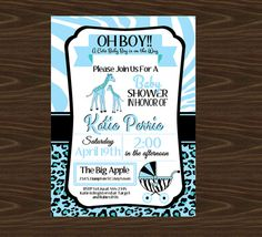 Blue Safari Baby Shower Invitation Thank You by ADTRCustomDesigns, $10.00