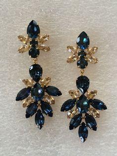 Navy Blue Gold Swarovski Crystal Bridal Statement Earrings - wedding earrings, pageant earrings, wedding jewelry, navy blue wedding