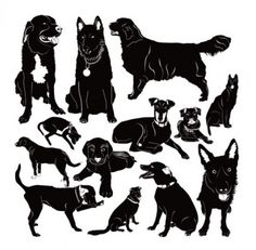 puppy silhouette 02 vector