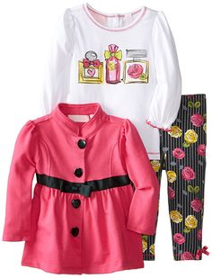 Kids Headquarters Baby Girls' Jacket with White Tee and Flower Print Pants *** Quickly view this special  product, click the image : Baby clothes