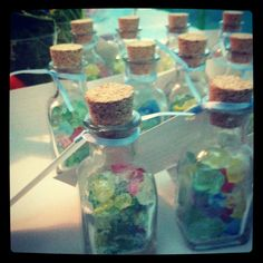 Under the sea theme party decorations. Rock candy favors