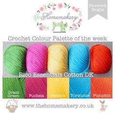 The Homemakery Blog - Crochet Color Palette of the Week - Firework Bright using RICO Essential Cotton DK