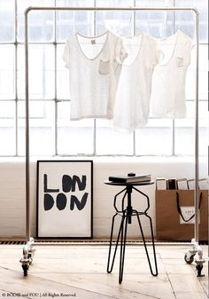 Industrial Clothes Rail — BODIE and FOU - Award-winning inspiring concept store Industrial Clothes Rail, Industrial Coat Rack, Industrial Bedroom, Industrial Chic, Design Industrial, Industrial Revolution, Home Design, Interior Design, Diy Clothes Rack