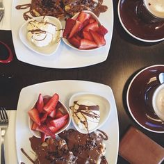 Chocolate Waffles, Ice Creme, Strawberries & Cappuccinos