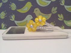 New Yellow frosted petal flower earbuds with by HoneyBadgerBuds, $15.00