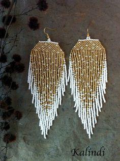 modern earring fringes seed bead earring hoops Silver Lining Earrings geometric jewelry