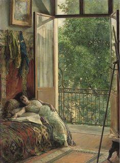 Edouard Richter (German, 1844 - 1913) - A break in the studio