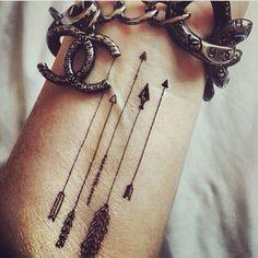 Arrow, black and white, arm tattoo on TattooChief.com