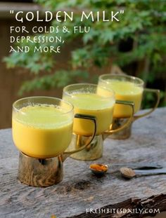 """Golden milk"" (turmeric milk) for cold, flus, depression, and more (in a recipe that actually tastes good…) – Fresh Bites Daily Healthy Drinks, Healthy Eating, Healthy Recipes, Clean Eating, Nutrition Drinks, Healthy Food, Qinuoa Recipes, Jucing Recipes, Cleanse Recipes"