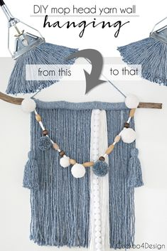 mop head yarn wall hanging | fiber art | macrame art | blue yarn wallhanging | affordable wall hanging | mop head crafts | crafts made with grocery store supplies | dollar store crafts | #macrame #easycrafts #wallart via @jakonya