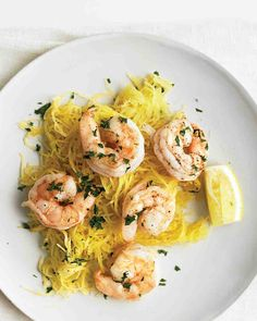Roasted Shrimp with Spaghetti Squash  = will roast some garlic with the squash and toss in some Parmesan cheese  2/22/2015  (forgot to put water in pan, turned out great!)