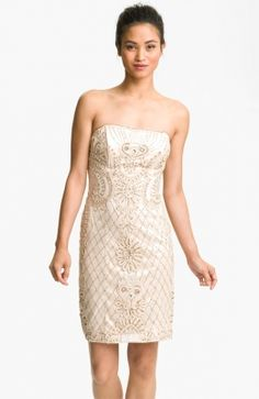 Strapless Embroidered Mesh Sheath Dress