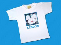 Boy's Easter Bunny Box Top with Embroidered Name by SunbeamRoad, $24.00