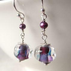 Purple  Earrings Lampwork Glass Freshwater Pearl by LexiandGem, $33.00