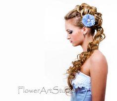 Blue bridesmaid Flower clip Blue flower hair by Flowerartstudio