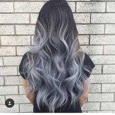 Grey ombre hair ideas to rock this year. Grey ombre hair is one of the most influential recent color trends. Stylists state unanimously that it is an awesome way to sport silvery shades. Grey Ombre Hair, Best Ombre Hair, Brown To Grey Ombre, Blue Grey Hair, Grey Hair From Brown, Silvery Blue Hair, Blue Brown, Grey Hair Colors, Black And Silver Hair