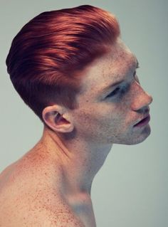 Men's Short Hair Cut - Sides Shaved - Slightly Blended to Top - Longer On top Combed Back - Color Strawberry Red