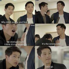Song Joong-ki as Yoo Shi-jin and Jin Goo as Seo Dae-Young Descendants of the sun Korean Drama Funny, Korean Drama Best, Korean Drama Quotes, Decendants Of The Sun, Song Joon Ki, Best Kdrama, Drama Fever, W Two Worlds, Kdrama Memes