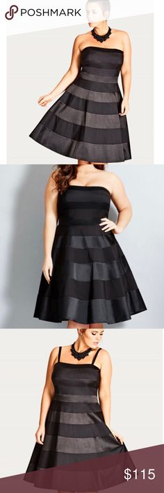 [City Chic] Miss Shady Black Fit & Flare Dress Condition: NWT SZ XS / 14 City Chic Dresses Strapless